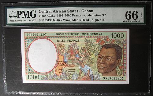 Central African States (Gabon) P402Lc 1000 Francs UNC66EPQ