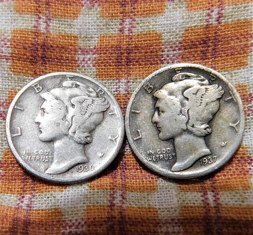 1936 D & 1937 D MERCURY DIMES