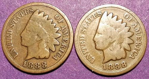 LOT OF TWO 1888 INDIAN HEAD CENTS