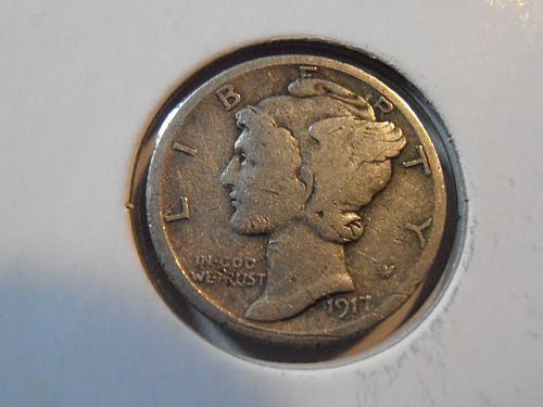 1917 S Mercury Silver Dime,  (17SAC2)