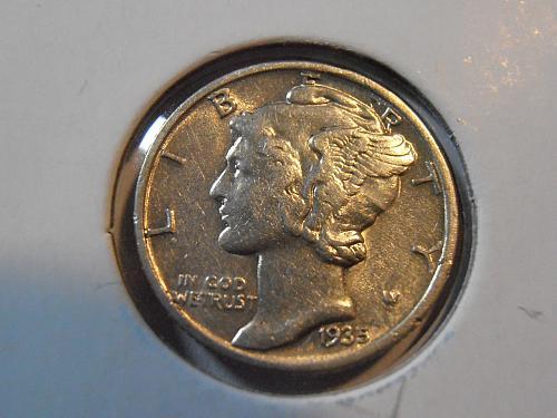 1935 P Mercury Silver Dime,  (35PAC1)