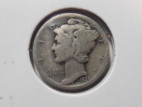 1936 D Mercury Silver Dime,  (36DAC2)