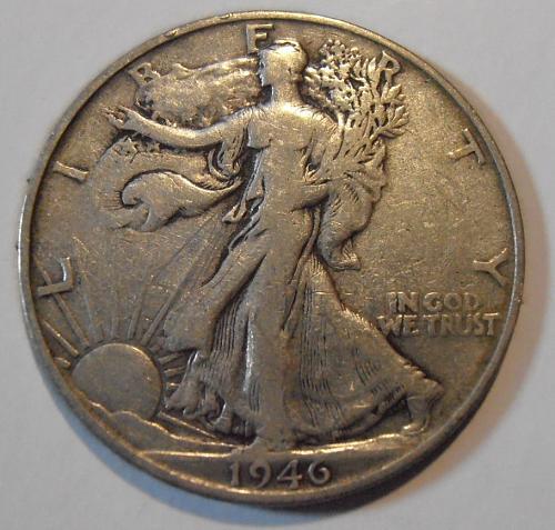 1946 S Walking Liberty Silver Half Dollar, (46SAC6)
