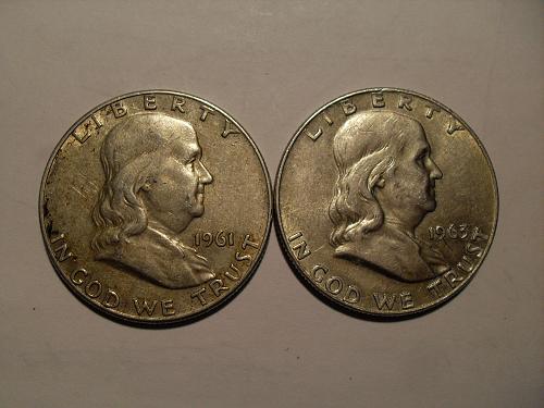 Lot of 2 Franklin silver half dollars 1961-D   1963-D