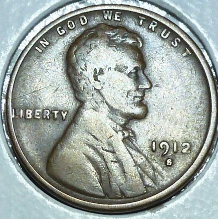 1912-S Very Fine Lincoln Wheat Cent ( # 108 )