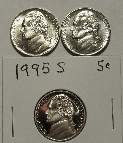 1995 P, D&S Jefferson Nickels in BU and Proof condition