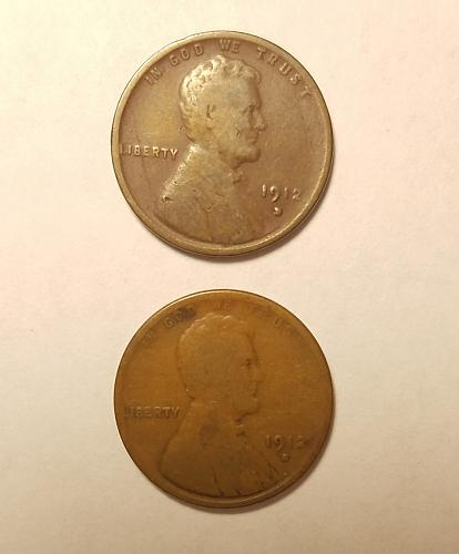1912 S and 1912 D Lincoln cents