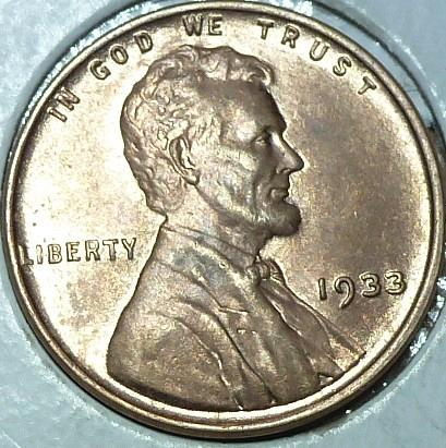 1933-P About Uncirculated Lincoln Wheat Cent  AU ( 147)