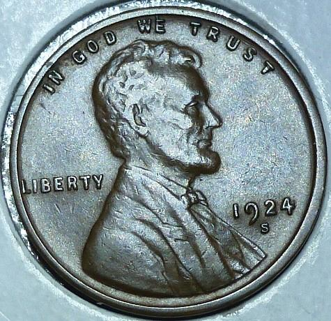 1924-S About Uncirculated Lincoln Wheat Cent  AU ( 132)