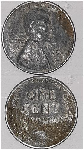 1943 P Lincoln Memorial Steel Wheat Penny