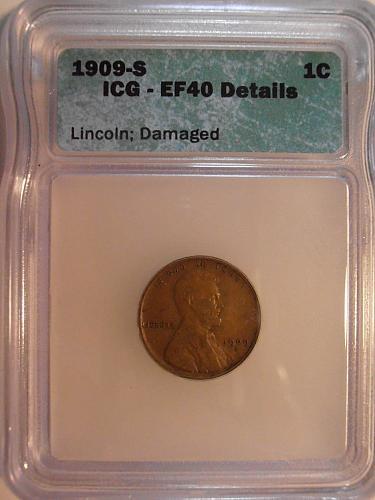 1909 S Lincoln Cent Better Grade, Better grade, EF 40 Details (09S701
