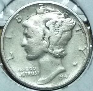 1941-P FINE Mercury Dime   (743)