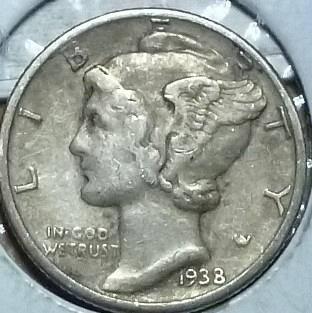 1938-P Very Fine Mercury Dime   ( 742)