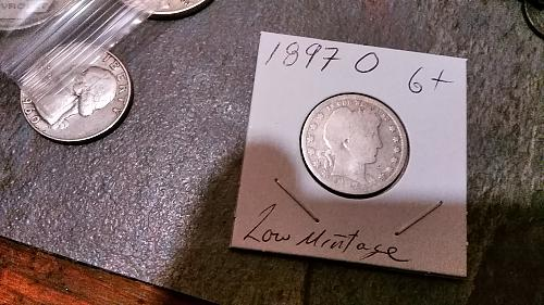 1897 O Barber Silver Quarter Low Mintage Very clear O Mint Mark