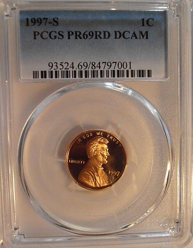 1997 S PR69RD DCAM Lincoln Cent, PCGS Certified (97S001)