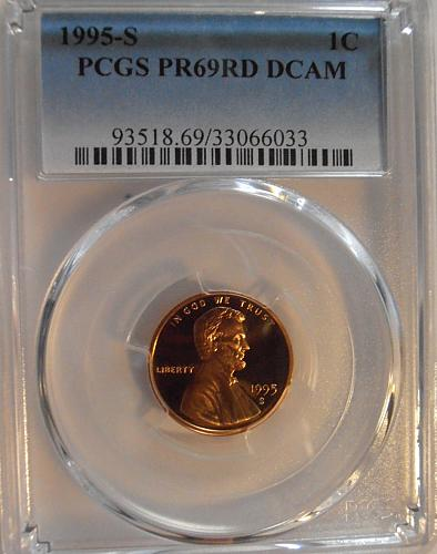 1995 S PR69RD DCAM Lincoln Cent, PCGS Certified (95S033)