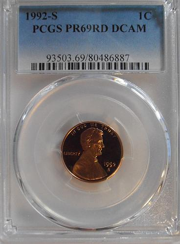 1992 S PR69RD DCAM Lincoln Cent, PCGS Certified (92S887)