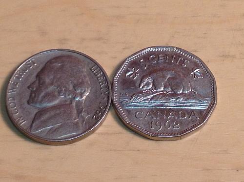 1962 Jefferson nickel & Canada Nickel