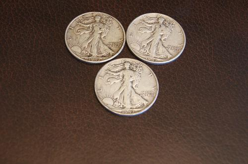Walking Liberty coins- 1943P, 1943D, and 1943S
