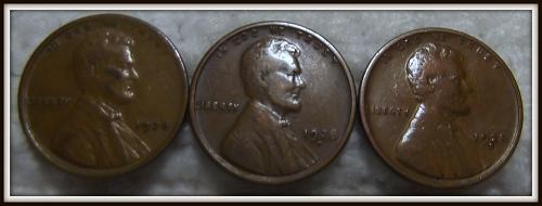 1928 - P,D,S 1C Lincoln Wheat Cents