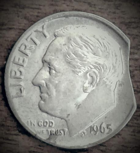 1965 Roosevelt Dime Clipped Planchet