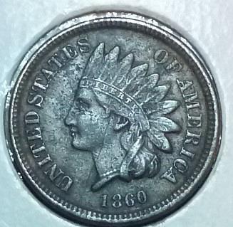 1860 CN Indian Cent Grades Extra Fine Dark( 509)