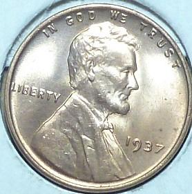 1937-P Gem BU RED Lincoln Wheat Cent (499 )