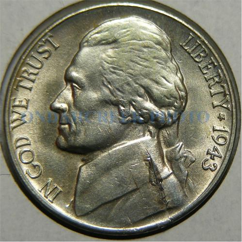 1943-S Jefferson Nickel Lamination Error