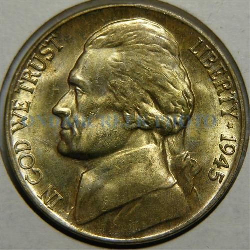 1945 Jefferson Nickel Golden Obverse with Reverse Laminations