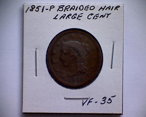1851 P BRAIDED HAIR LIBERTY HEAD LARGE CENT