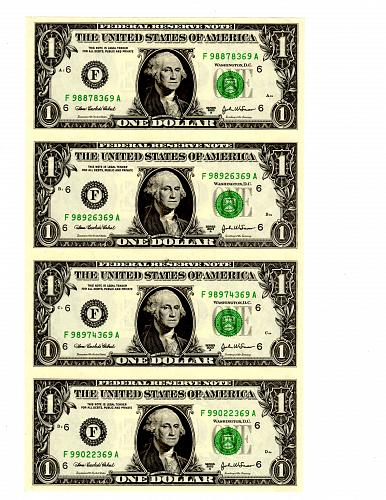 SERIES 2003 A UNCUT SHEET (4) FEDERAL RESERVE NOTE $1.00