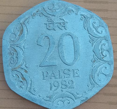 D) ..India 20 Paisa circulated coin..1982.. Hyderabad mint