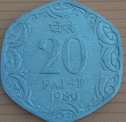 E) ..India 20 Paisa circulated coin..1986