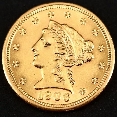 1906 Coronet Liberty Head $2.50 Gold Quarter Eagle Coin