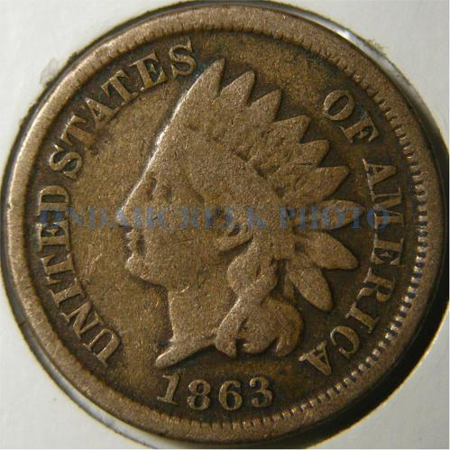 1863 Indian Cent Retained Cud Reverse