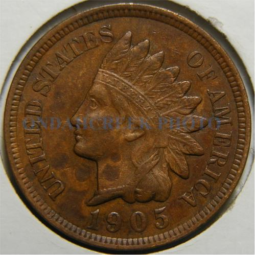 1905 Indian Cent Repunched Date Snow # 13