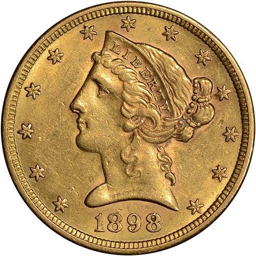 $5.00 1898-S Choice AU - ToughCOINS