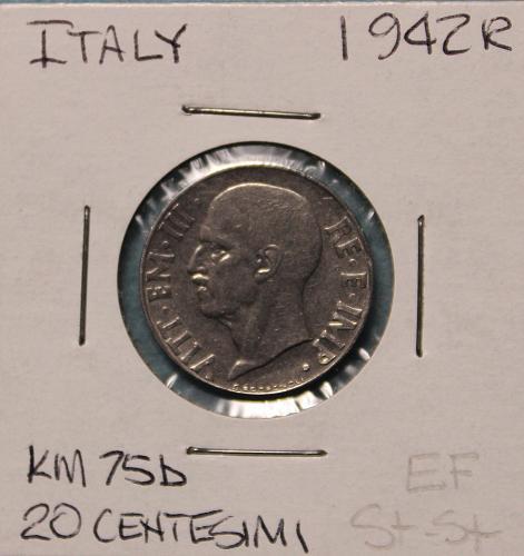 Italy 1942R 20 centisimi