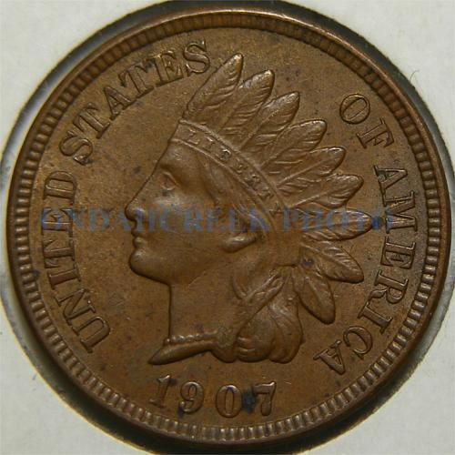 1907 Indian Cent Snow 10 Repunched Date in AU