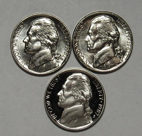 1987 P,D&S Jefferson Nickels in BU and Proof condition