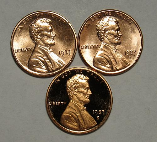 1987 P,D&S Lincoln Memorial Cents in Red BU and Proof condition