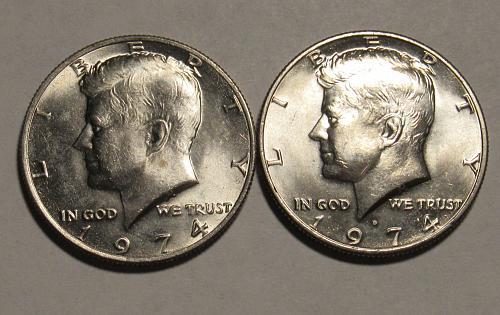 1974 P&D Kennedy Half Dollars in BU condition