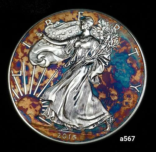 2015 Rainbow Toned Silver American Eagle 1 troy ounce silver Monster toned #a567