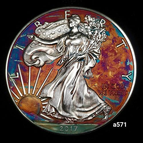 2017 Rainbow Toned Silver American Eagle 1 troy ounce silver Monster toned #a571