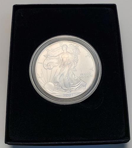 2007-W Burnished American Silver Eagle with Original Mint Box and COA