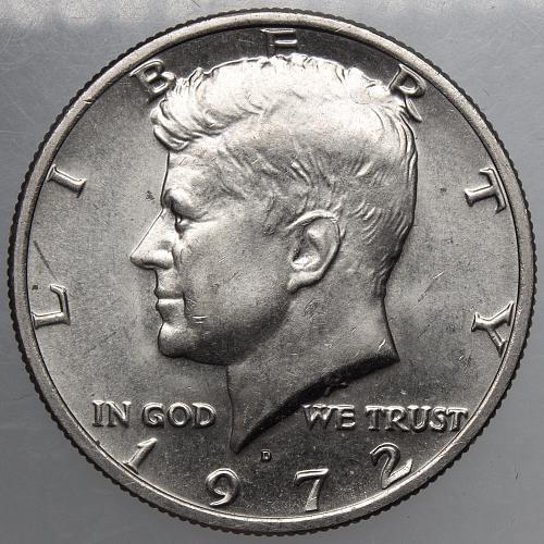 1972 D Kennedy Half Dollar#3 Very Faint FG Initials Error and Reverse Die Clash