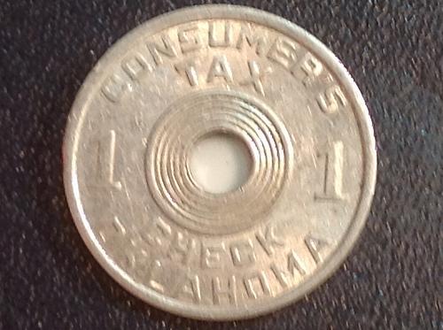 Oklahoma 1 mil tax token (aluminum)