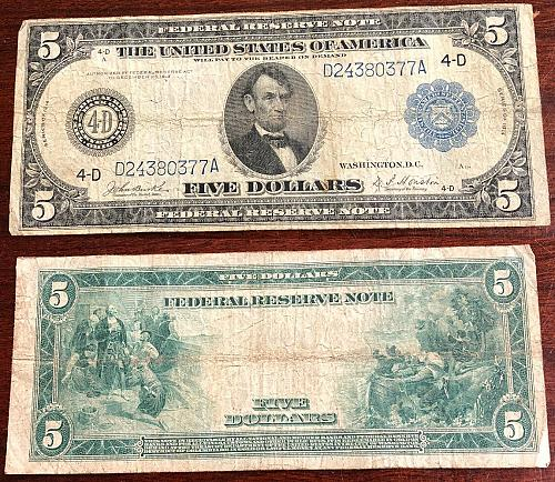 1914 $5 Federal Reserve Note Large Size Circulated