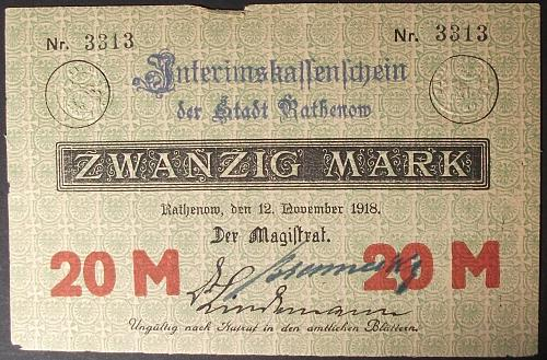 1918 Germany/Rathenow 20 Marks VF