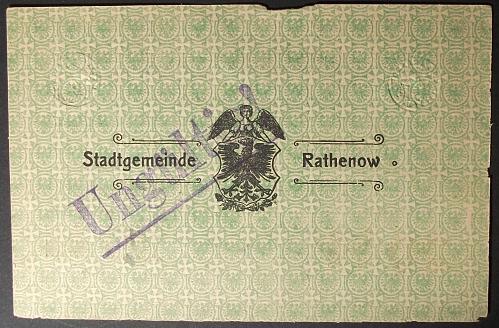 1918 Germany/Rathenow 20 Marks VF